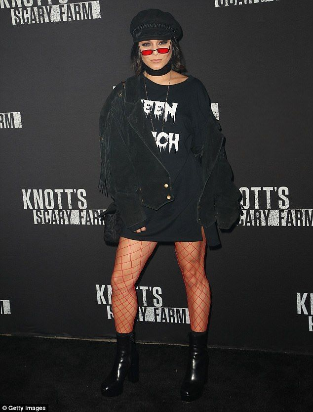 Vanessa Hudgens dons Teen Witch top for Knott's Scary Farm | Daily Mail Online