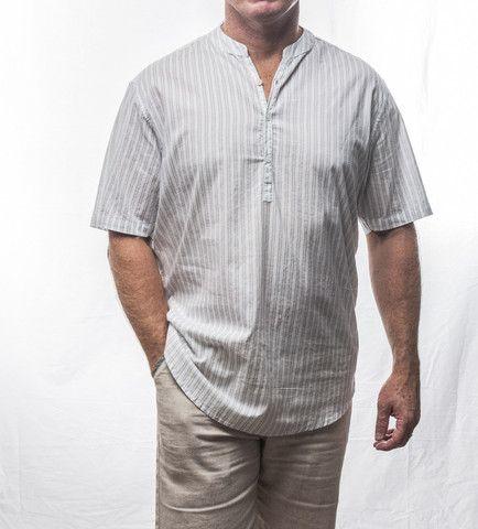 Grey Pin Short Sleeve Cotton Shirt