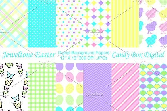 Jewel tone Easter Background Papers. Patterns
