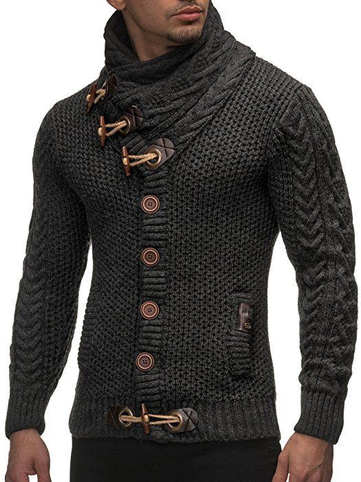Leif Nelson Men's Knitted Jacket Cardigan - X-Large - Anthracite
