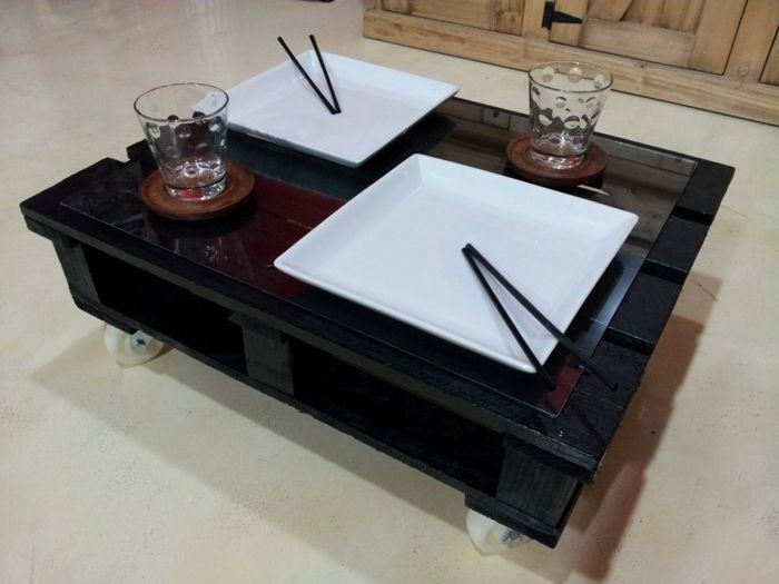 Holzpaletten Mbel Couchtisch Schwarz Japanischer Stil