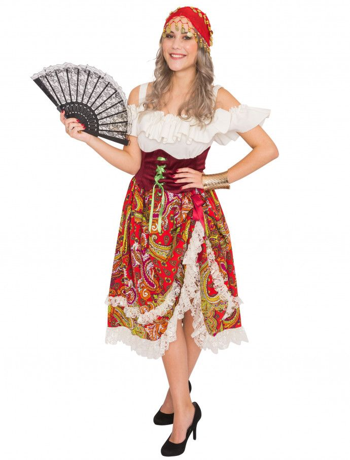 Kleid Lang Gipsy Queen Fur Karneval Fasching Deiters