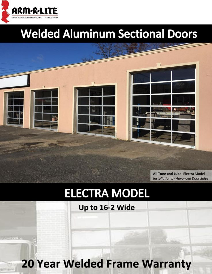 The Electra Model welded aluminum and glass garage door is designed for exceptional beauty, superior strength, and maximum visibility with extra strong narrow sight line extrusions.