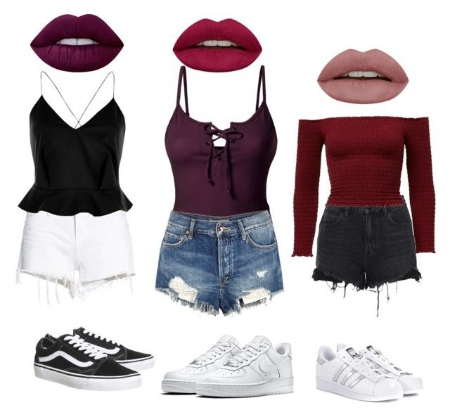 ♡ by marilena-beiko on Polyvore featuring polyvore fashion style LE3NO River Island Hudson Jeans Free People Alexander Wang NIKE Vans adidas Originals Lime Crime Huda Beauty clothing
