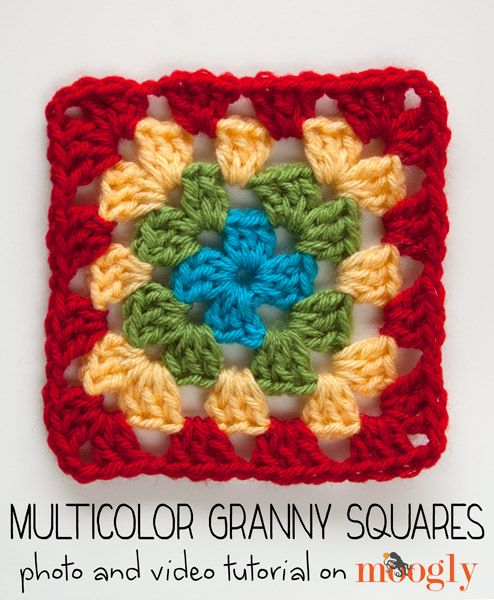 How to Crochet Multicolor Granny Squares that look *perfect* every time! Video and photo #crochet tutorial on @moogly