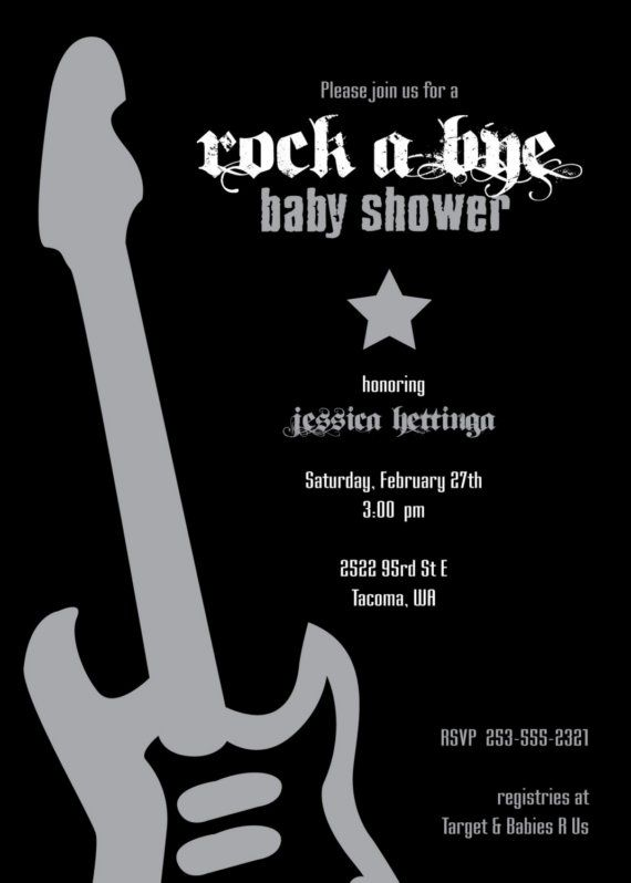 Rock 'n Roll Rock Star Guitar Baby Shower Invitation by Green Tulip