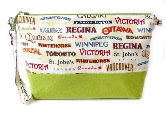 Vinyl Makeup Bag Large Vintage Canada by HintofLimeDesigns