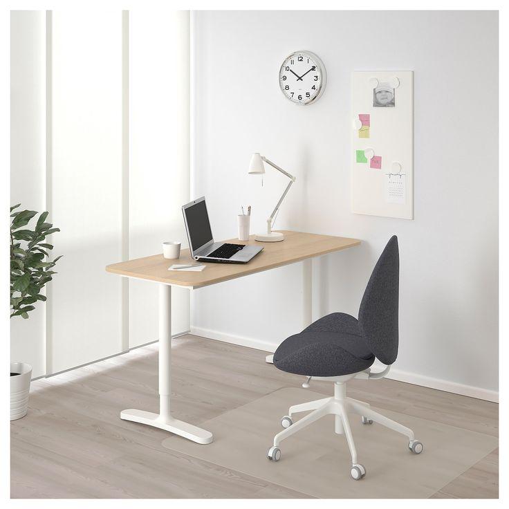 Small Space Homeoffice Corner Desk: White Stained Oak Veneer, White 55 1/8x23 5