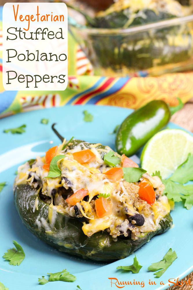 Vegetarian Stuffed Poblano Peppers recipe- quinoa, black beans and delicious mexican flavors!   Running in a Skirt