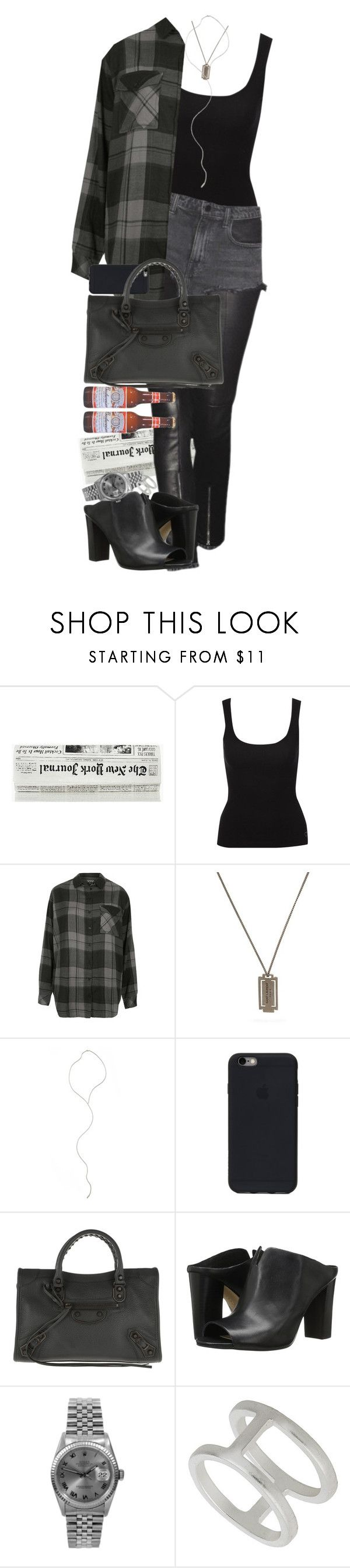 """Grunge."" by quiche ❤ liked on Polyvore featuring Jane Norman, Alexander Wang, Topshop, Yves Saint Laurent, Mara Carrizo Scalise, Balenciaga, Vince Camuto, A2 by Aerosoles and Rolex"