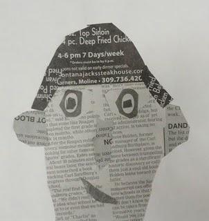 newspaper self-portrait collage: value