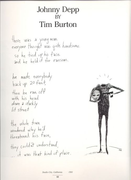 A poem about Johnny Depp by Tim Burton