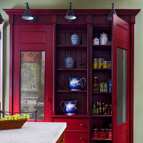 Blue and white in a red cupboard love this for the for Great storage