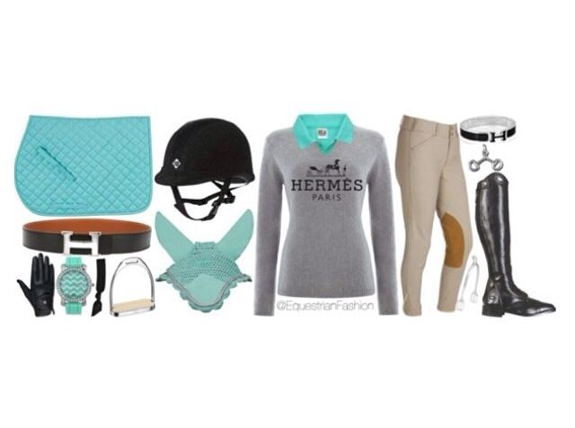 Turquoise/Grey Equestrian Outfit