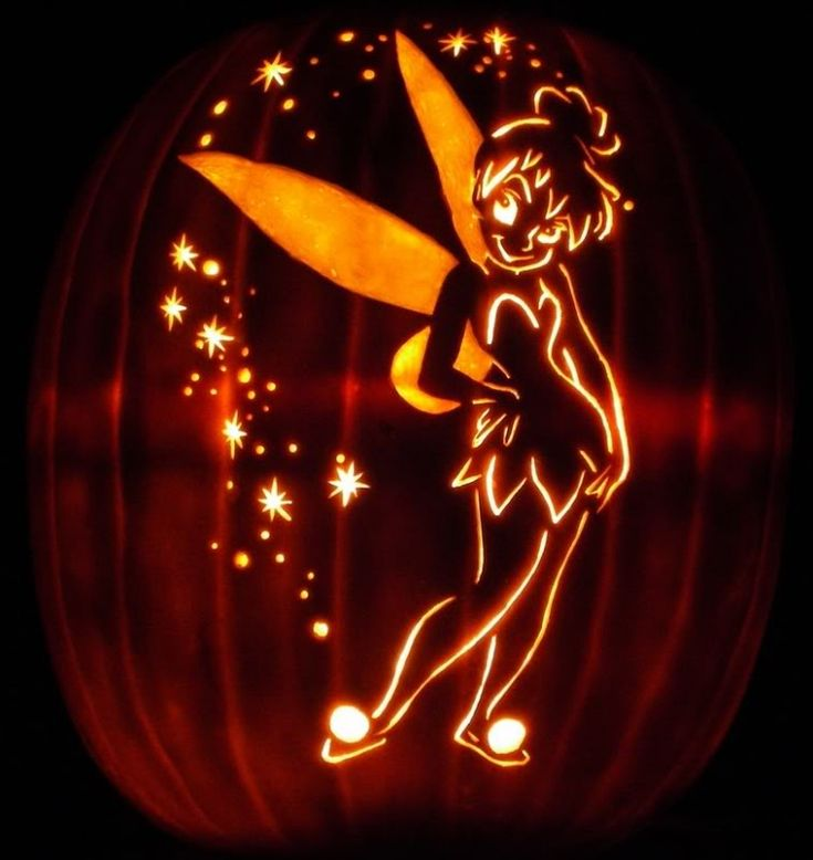 Accessories  Beautiful Tinkerbell Pumpkin Carving For Hallowen Theme Decor Stencils For Halloween Pumpkin Carving