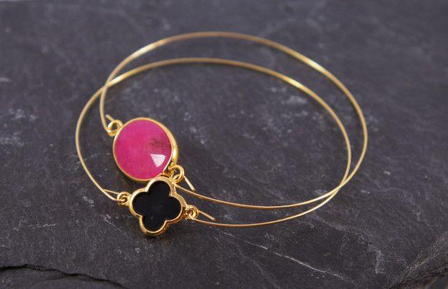 Armreife - ♥ Armreif Jade fuchsia facettiert gold - ein Designerstück von zuckerputzig bei DaWanda