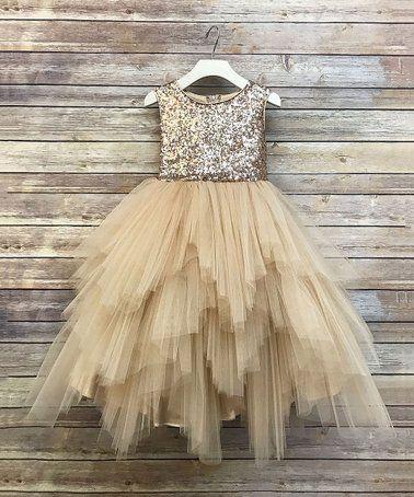 4ca96d900de Champagne Sequin   Tulle Tutu Dress - Girls  flowergirl  girls  party  dress   champagne  zulily!  zulilyfinds