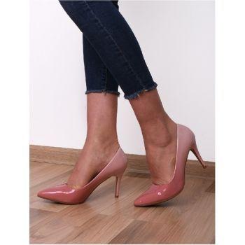 Pantofi stiletto roz din piele lacuita. Inaltimea tocului este de 9 cm