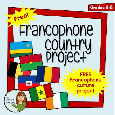 Free French Project - Francophone Country Project - BC New Curriculum Core French Middle School