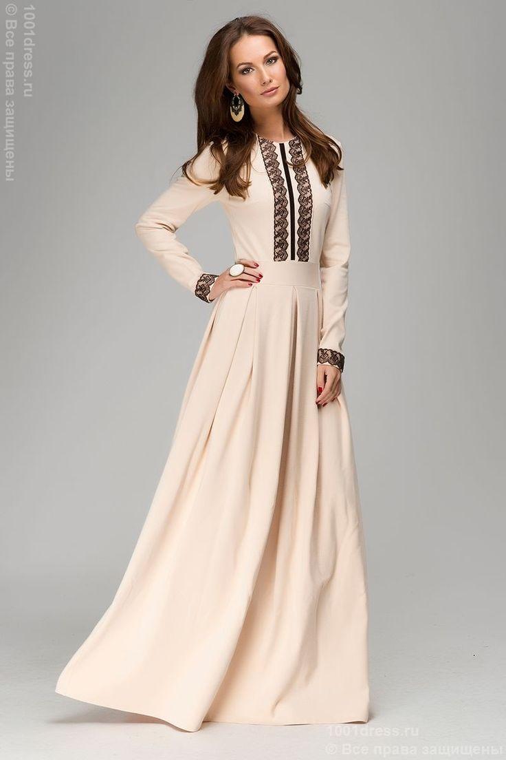 Платье бежевое длины макси с длинными рукавами и кружевной отделкой , бежевый в интернет магазине Платья для самых красивых 1001dress.Ru