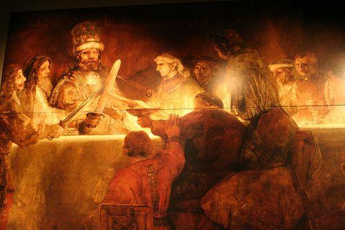 """""""La conspiración de Claudio Civilis"""" es un cuadro al óleo realizado por Rembrant en el año 1662"""