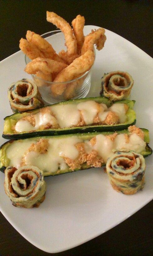 #zucchineripiene #pollo fritto e rotolini di #frittata