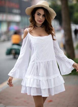 Vestidos Poliéster Llanura Sobre las rodillas Manga larga (1038303) @ floryday.com