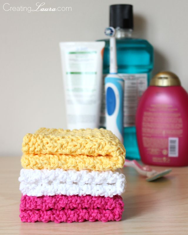 Washcloths.... these are knitted and pretty easy! Pattern: Cast on 35 stitches Rows 1-4: Knit Row 5: Knit 3, (purl 1, knit 1) repeat until there are 3 stitches left, knit 3 Row 6: Repeat ro...