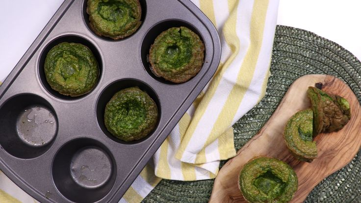 These muffin tin omelets can be served immediately or refrigerated to pop in the microwave for a portable, nourishing breakfast.