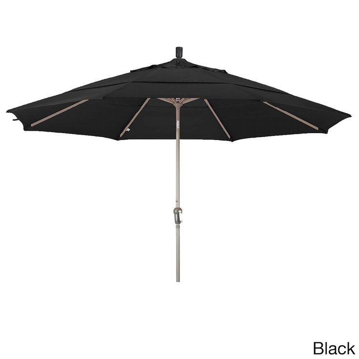 California Umbrella 11' Round Crank Open Auto Tlit Market Umbrella, Champagne Finish, Double Wind Vent, Pacifica Fabric
