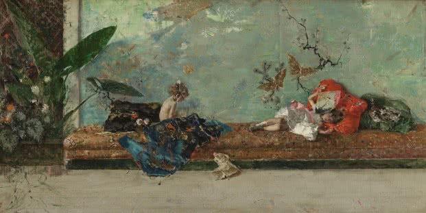Mariano Fortuny Marsal. 'Los hijos del pintor en el salón japonés', óleo sobre lienzo, 44 x 93 cm, 1874 [P02931].