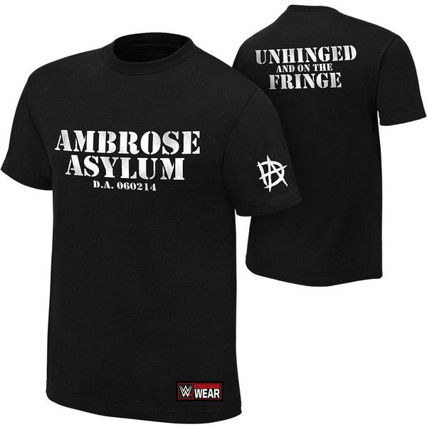 """Dean Ambrose """"Unhinged and on the Fringe"""" Authentic T-Shirt ❤ liked on Polyvore featuring tops, t-shirts, dean ambrose, cotton t shirts, fringe tee, classic fit shirt, fringe t shirt and cotton tee"""