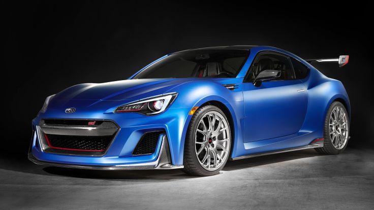 Subaru STI concept car blue front three quarters blue