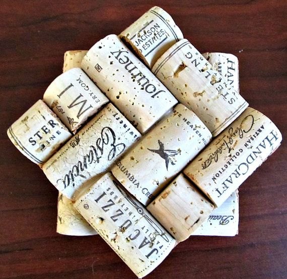 Wine Cork Coasters - Set of Four - Wine Lover Wedding Christmas Housewarming Hostess Gift Rustic Home Decor