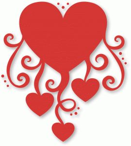Silhouette Design Store - View Design #37023: flourished hearts dangling