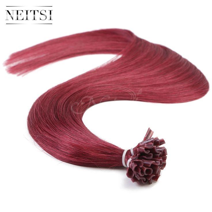 "Neitsi 16"" 20"" 24"" 1g/s 50g 100g 530# U Nail Tip Keratin Fusion Hair Weave Extensions 100% Super Virgin Remy Human Hair Straight"