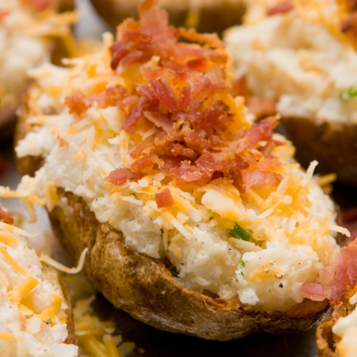 These stuffed potatoes are double baked with delicious flavors and topped to perfection.