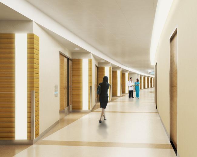 Hospital Corridor Lighting Design: Vertical Lighting As Unit Markers & Full Length Cove