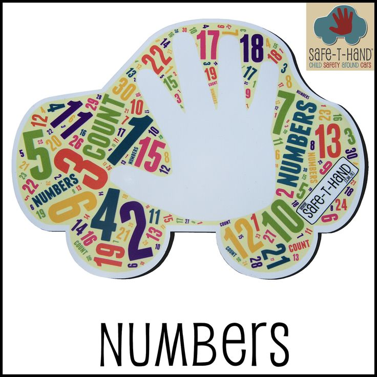 A 'Numbers' Safe-T-Hand is $29.97 for a car Decal or a car Magnet.  #child #road #safety #awareness #solutions #teach #tool #aid #numbers #count www.safethand.com.au