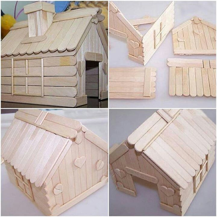 Ice cream stick house crafts pinterest cream house for How to build a wooden house step by step