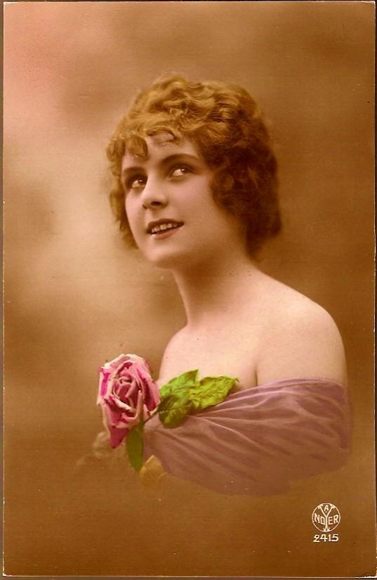 Antique Post Card Real Photo Tinted Lady in Purple with Rose 1912 Vintage and Antique Postcards on Ruby Lane $20