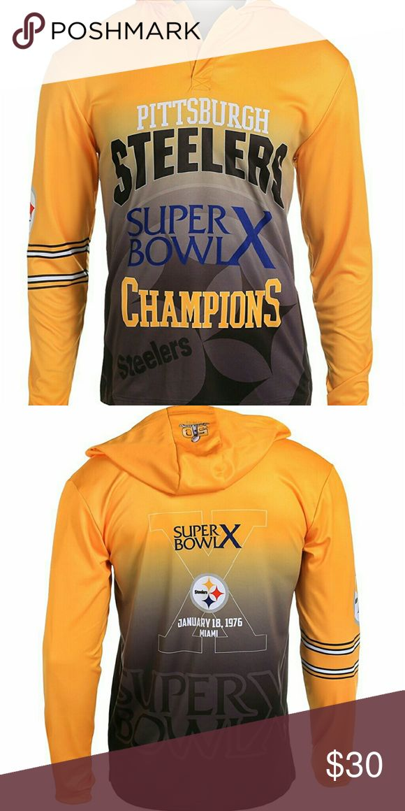 *COMING SOON* NFL Pittsburgh Steelers Super Bowl X Nfl Commemorative Pittsburgh Steelers lightweight Hoodie Style Tee. Super Bowl X, 1976, Miami.   Mens Size M  100% Polyester KLEW Shirts Tees - Long Sleeve