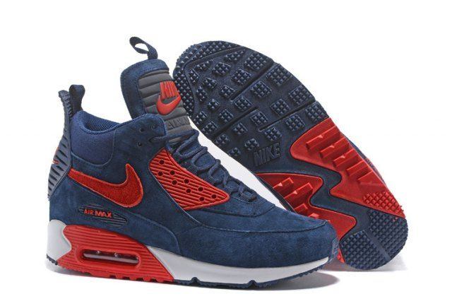 best service 92a94 7fa47 Nike Air Max 90 Sneakerboot Men s Running Shoes Dark BlueRed