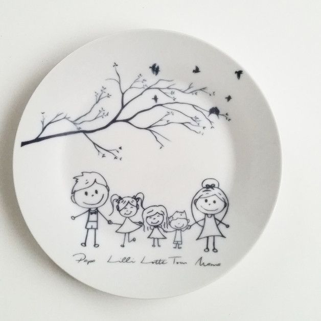 Illustrierter Teller aus Porzellan für die Küche / painted plate made by JU-GrafikDesign via DaWanda.com