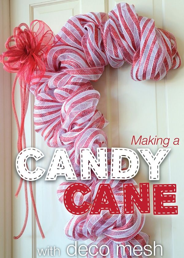 EZ Wreath Form Tutorial-Striped Christmas Wreath/Candy Cane how to with deco-mesh...love this!