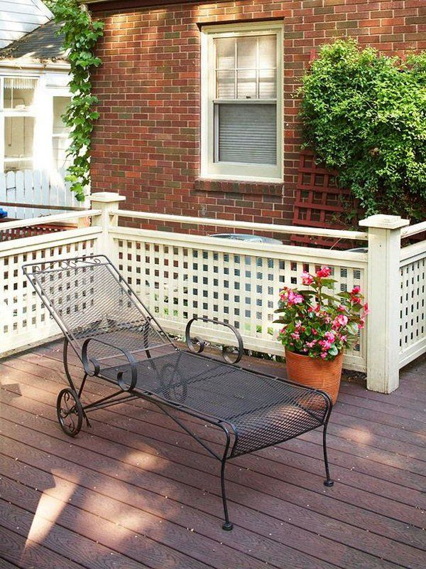 Lattice deck railings.  Lattice work makes a nice background for plants. And lattice adding rail to cover floor can increase security and privacy.