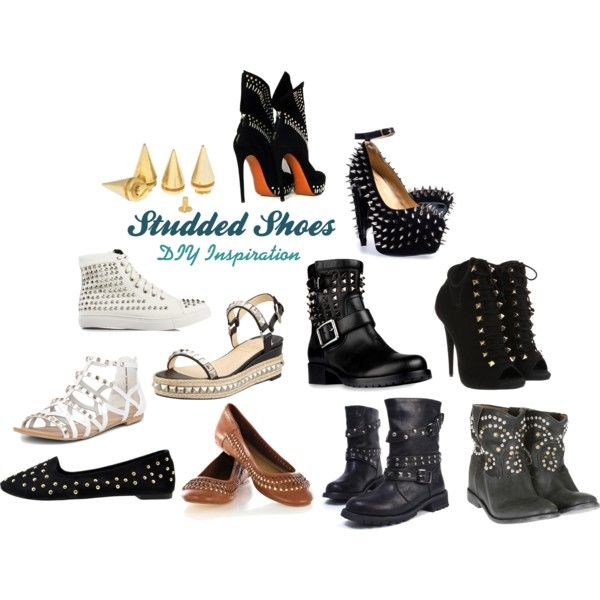 """""""Studded Shoes DIY Inspiration"""" by mjtrimming on Polyvore #polyvore #mjtrimming #studs #diy"""