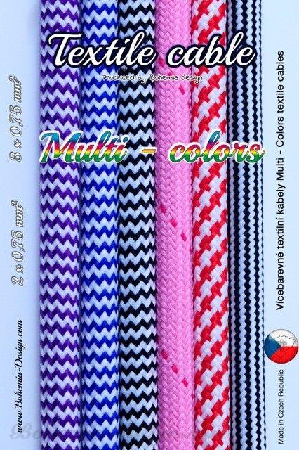 Textilní kabel Zig Zag 2 x 0,75 mm2 barevné opletení