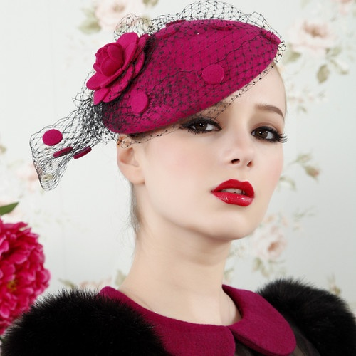 Womens Vintage Fascinator Wool Hair Pillbox Hat Rose Veil Cocktail Party Wedding   eBay