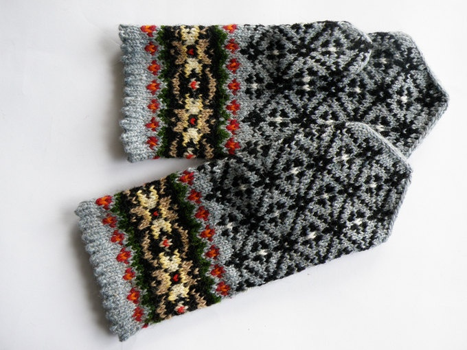 High quality hand knitted warm wool mittens , gloves patterned Grey and Brown flowers. $50.00, via Etsy.